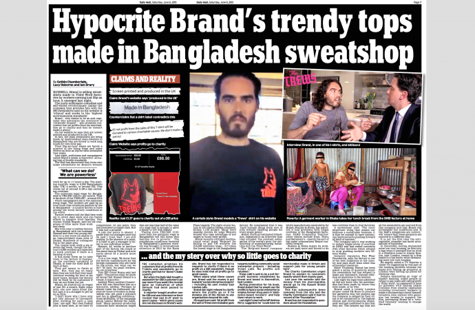 Russell Brand's trendy tops made in Bangladesh