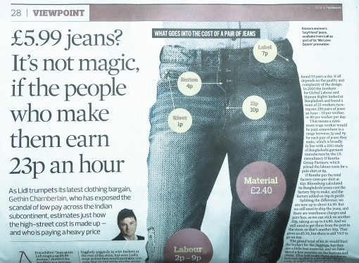 How can Lidl sell jeans for £5.99? Easy … pay people 23p an hour to make them