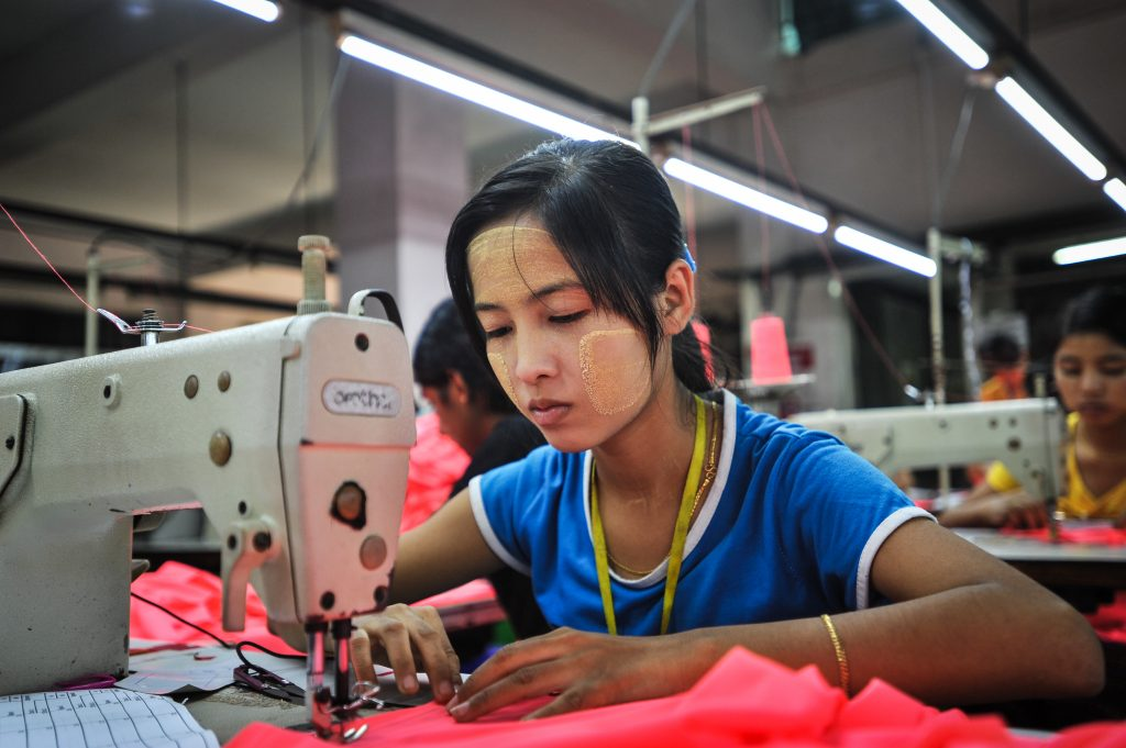 Ni Ni Soe, 18, a worker at the Shweyi Zabe Garment Co Ltd in Yangon, Myanmar. The company produces clothing for international brands.
